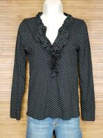 Ann Taylor LOFT Black Ruffled Neck Poka Dot Blouse Womens Size XS EUC