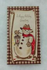 Vintage Christmas Card - Snowman, Lantern, Pipe, Red Scarf, Hat - A Tall One