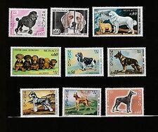 - Monaco  lot de  9 timbres exposition canine  chiens      **