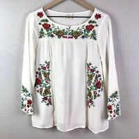 Sundance Women's M Peasant Blouse Floral Embroidered Top 3/4 Sleeves Semi-Sheer