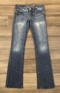 REFUGE Women's Juniors Cotton Blend Low Rise Bootcut Denim Blue Jeans-Size 0