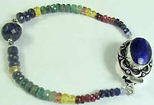 81 Ct EXCLUSIVE NATURAL RUBY SAPPHIRE EMERALD BEADS BRACELET STONE CLASP
