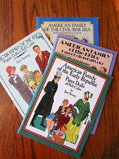 American Family Paper Dolls Early Republic 1930s 1920s Civil War Uncut book lot