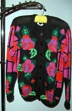 UGLY SWEATER: GALLAGHER Ramie/Cotton Woman's Sweater Black w/pink/red/green Sz S