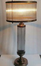 Antique Old Vintage Art Deco Skyscraper Brass & Glass Rod Table Lamp Light