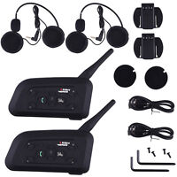 V6-1200 Bluetooth Motorcycle Helmet Interphone Intercom 6 Riders Headset