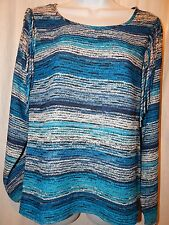Top Ariat S Western Etta Blue Multi Striped Fringe Shirt Rodeo Womens ST46