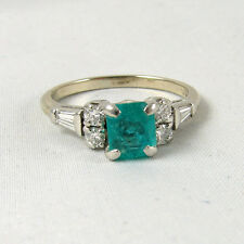 Emerald and Diamond 14k White Gold Ring size 6.5