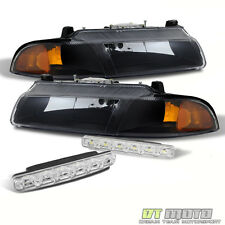 Blk 96-00 Breeze 95-00 Stratus Cirrus Amber Headlights Headlamp+Smd Bumper Fog