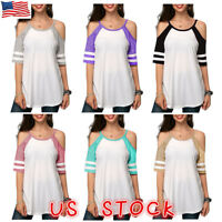 Women Cold Shoulder Summer Tops Ladies Loose Casual Blouse Tee T Shirt Plus Size