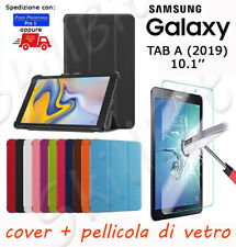 CUSTODIA COVER STAND PELLE PER SAMSUNG GALAXY TABLET TAB A (2019) 10.1'' + VETRO