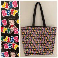 BETTY BOOP Womens Handbag Purse Black Multi Lined Zipper Large EUC