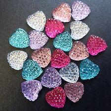 20 Resin Heart Cabochon Embellishments Flatback - Pink Purple Silver Green