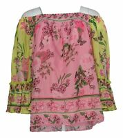 Colleen Lopez Women's Top Sz M Flounce Sleeve Smock-Neck Blouse Pink 698-394