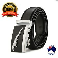 XHTang Mens Jaguar Automatic Buckle Belt Genuine Leather Waistband Jeans Gift
