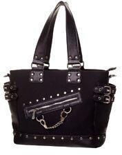 Banned Handbag Shoulder School Bag Plain Black Gothic Punk Rockabilly Zip Chain