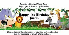 Personalised 1st or any age name Birthday Party Banner Sign, JUNGLE ZOO ANIMALS