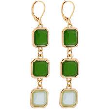 Deco Gold Dangle Earrings Cushion Cut Emerald Green Art