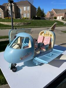 Vintage Mattel 1999 Barbie Blue Jumbo Jet Plane Airplane Nice condition