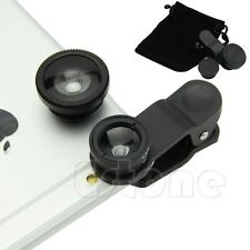 3in1 180° Wide Angle+Fish Eye+Macro Camera Photo Zoom Lens Set For iPhone 5 5s 6