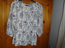 Cream, blue and brown autumn colours top, 3/4 sleeves, FLORENCE & FRED, size 12