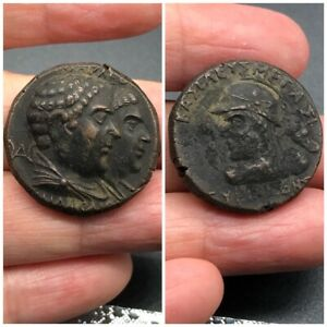 13.45g Ancient bronze indo greek Bactria Eucratides I Heliocles and Laodice #S90