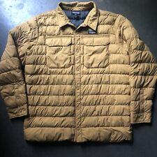 Men's Patagonia Silent Down Nest Khaki Brown Puffer Puffy Shirt Jacket Sz 2XL