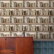 Splendour Neutral Bookcase Wallpaper Paste the Wall Vinyl Bookshelf SD3533
