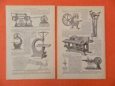 Sägen und Sägemaschinen Holzwirtschaft Holzstich von 1897 Horizontalgattersäge
