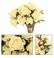 3 Head Rose Spray Artificial Flower Bouquet Bunch Bridal Roses ~ Light Yellow