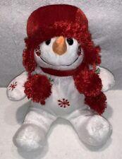 "Dan Dee Boy Girl Snowman Christmas Holiday Red Hat Scarf Snowflake 10"" Plush Toy"