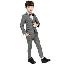 Kids Boys Plaid Suits Wedding Formal Children Suit Tuxedo Dress Costume Slim Fit