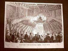 Incisione del 1865 Firenze Sala della Camera dei Deputati Discorso Re Toscana