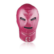 Pink Leather Mask fancy dress Hood,shiny, zips on eyes and mouth. Top item...