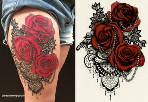 Temporary Tattoo Large Red Roses Fake Body Art Ladies Sheet Size 21cm x 15cm