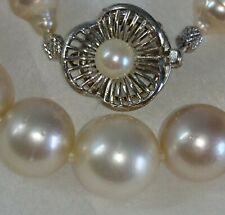 CERTIFICATE SOUTH SEA pearl necklace white gold cream JAPAN 7.9-12.5mm $4000