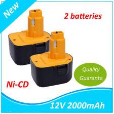 2X 2000mAh 12V 2.0Ah Ni-MH Batterie DE9071 pour Dewalt 2802K DC9071 DE9075