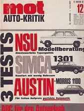 mot 12 1967 3X TEST:  NSU Prinz Progamm/Austin/Morris 1100/Simca 1301/3.6.67
