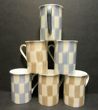 6 A SET OF SIX LUSTRE CHECK MIX FINE BONE CHINA MUGS CUPS BEAKERS TO CLEAR