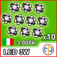 LED 3W Warm White BIANCO CALDO 3000-3500K° 180lm Power Led 700mA 10 Pezzi