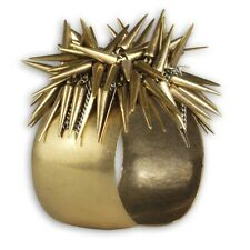 Sparo Gold Spiky Spikes Antique Plating Silver Chains Fashion Cuff Bracelet