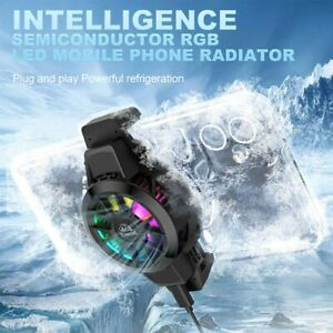 Mobile Phone Cooler Portable Radiator RGB Adjustable Fast Cooling Fan USB Cable