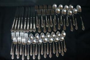 46 Pcs Oneida  ARBOR ROSE/TRUE ROSE 1881 Rogers Stainless Steel Flatware