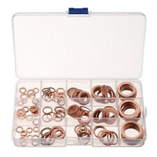 150pcs Solid Copper Crush Washers Gasket Seal Flat Ring M5-M22 Thick 1/1.5mm Set