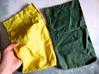 Pair of Green & Yellow Vintage Industrial Canvas Storage Bags