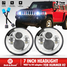 """2x 7"""" Chrome LED Round Headlight Hi/Lo Beam For Hummer H1 H2 9007 to H4 Adapter"""