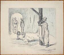 Dessin original illustration 19e siècle Colonialisme Afrique noire Zouave