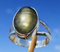 Labradorit aus Madagaskar - Ring Gr. 18  Silber 925