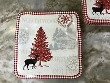 222 Fifth Northwood Cottage Salad Plates. White, Red. Porcelain. Set Of 4. New.