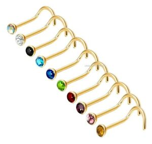 Gold Nose Stud Screw Ring Pin Studs Stainless steel Nose Piercing jewellery 20g